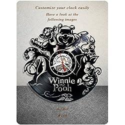Winnie the Pooh vinyl clock, vinyl wall clock, vinyl record clock pooh bear winnie-the-pooh walt disney classics a.a. milne teddy bear wall art home decor kids gift 169 - (a2)