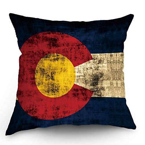 HL HLPPC Vintage Colorado Flag State Throw Pillow Case Cotton Linen Cushion Cover 18 x 18 Inches Standard Square Decorative Pillow Cover for Sofa and Bed One Side Print