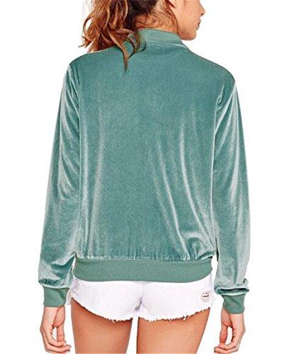 Casual Jacket Giacche D'oro Colore Donna Outwear Cappotti Kerlana Lunga Puro Moda Velluto Cerniera Giacca Manica Green Cappotto v1xqO