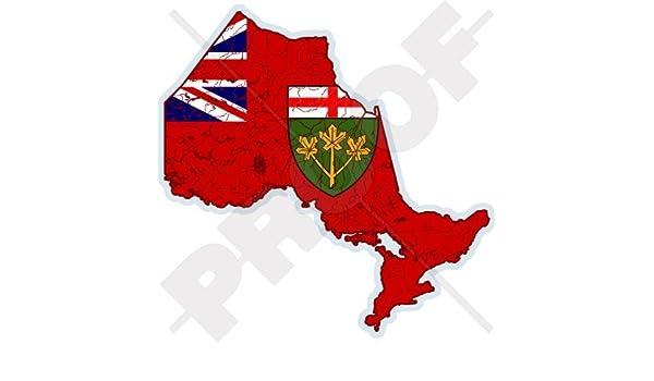 Canada Map Flag.Amazon Com Ontario Province Map Flag Canada Canadian 4 100mm