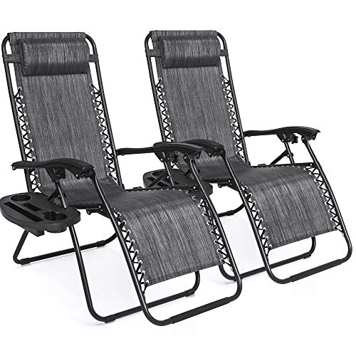 Best Choice Products Set of 2 Adjustable Steel Mesh Zero Gravity Lounge Chair Recliners w/Pillows and Cup Holder Trays, Gray,best choice products