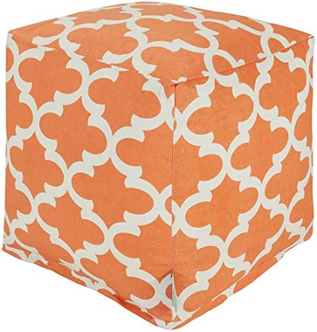 Majestic Home Goods Peach Trellis Indoor Outdoor Bean Bag Ottoman Pouf Cube 17 L x 17 W x 17 H