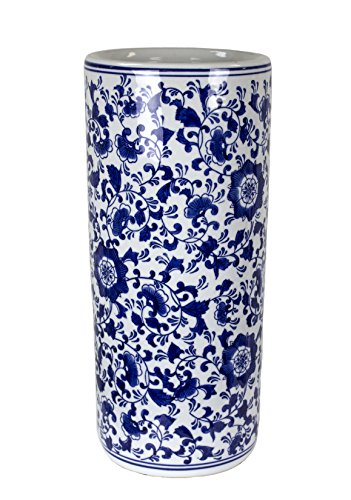 Sagebrook Home VC10473-01 Umbrella Stand, Blue/White Ceramic, 7.5 x 7.5 x 17.5 Inches