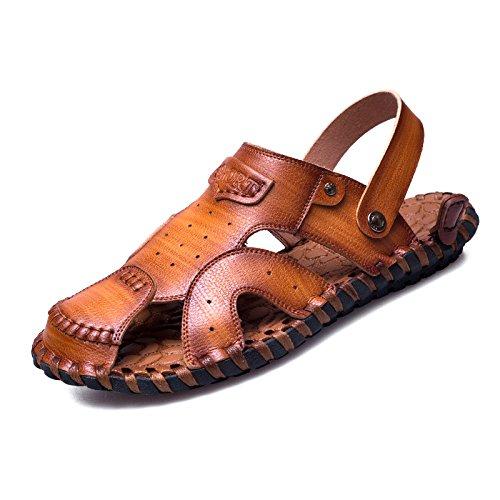 Stilvolle Und Komfortable, Lässig, Anti-Skid Strandschuhe, Handgefertigte Leder Sandalen, Farbe: Weiß, Braun,Brown,Eu41