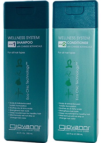 Giovanni Wellness Shampoo and Conditioner Bundle (with Chinese Botanicals for Soothing Dry and Itchy Scalp) 8.5 fl. Oz Each (Giovanni Wellness System Conditioner With Chinese Botanicals)