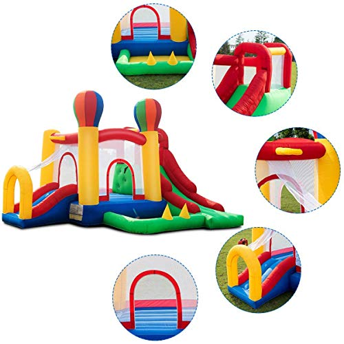 Costzon Inflatable Bounce House, Mighty Balloon Double Slide Bouncer with Basketball Hoop, Climbing Wall, Large Jumping Area, Ideal Kids Jumper (Without Blower) by Costzon (Image #2)