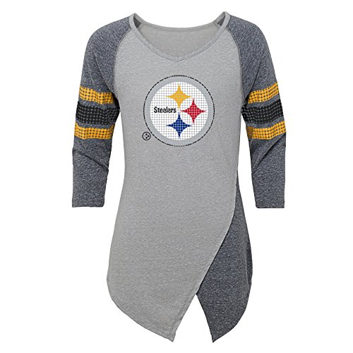 Outerstuff NFL Pittsburgh Steelers Juniors Lavish Crossover Asymmetric Hem Top, Heather Grey, Juniors X-Large(15-17)