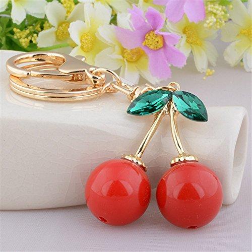 Red Cherry Plastic Crystal Green Opal Leaf Charm Pendant Purse Bag Keyring Key Chain ()