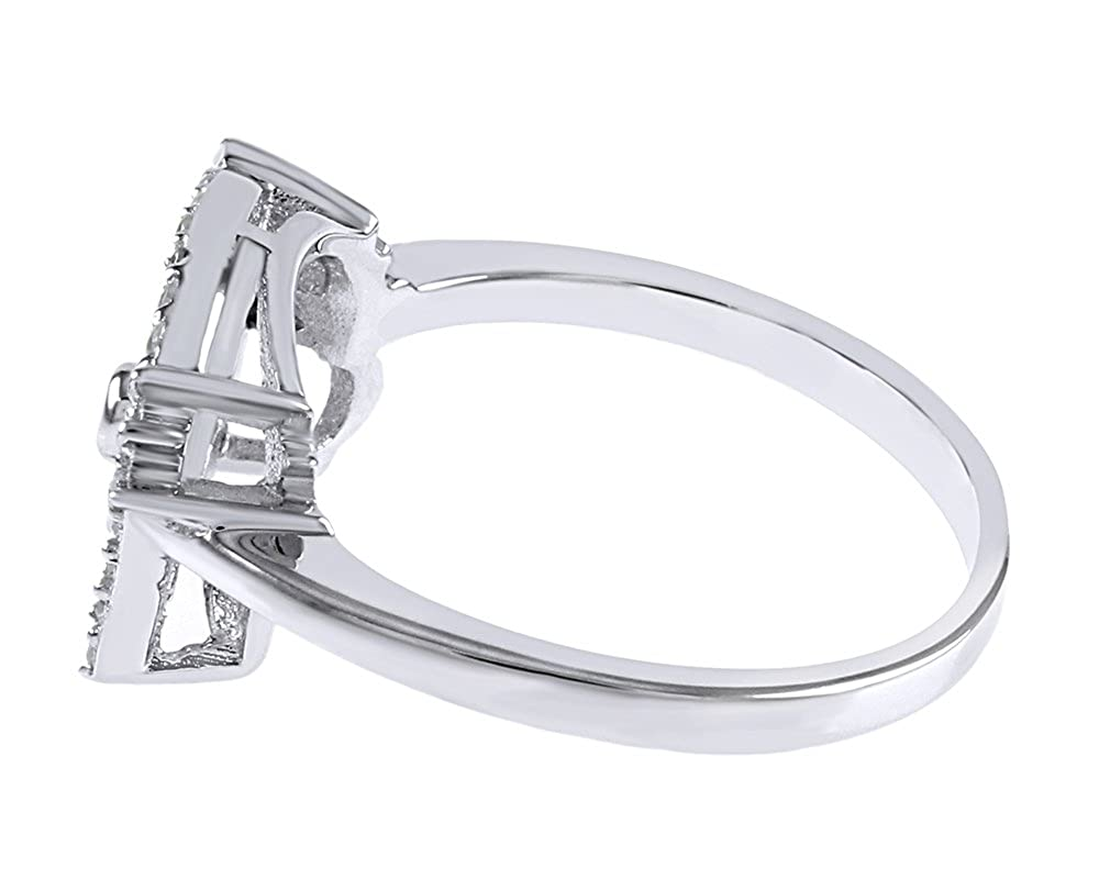 e85b4c106 Jewel Zone US Hello Kitty Face Cubic Zirconia Fashion Engagement Ring in  925 Sterling Silver | Amazon.com