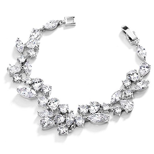 Mariell Breathtaking Mosaic Shaped Genuine Platinum Plated CZ Wedding Bracelet - Bridal & Formal Bling ()