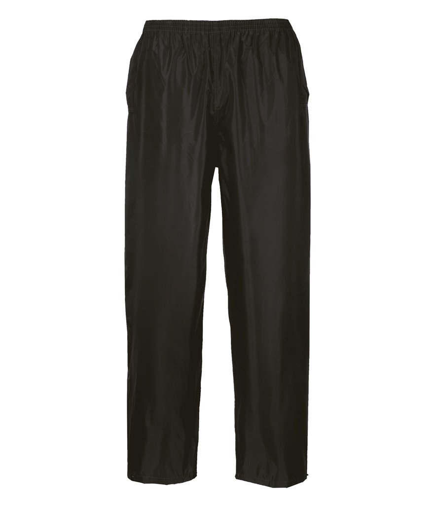 Portwest S441 Rainwear Men's Waterproof Rain Pants, Medium, Black