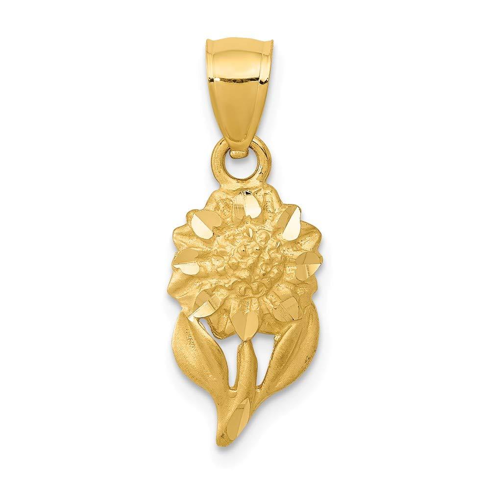 Mia Diamonds 14k Yellow Gold Satin Diamond-cut Sunflower Pendant