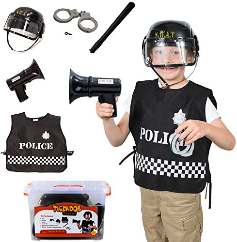 Swat Costume for Boys - 5 Pc Set - Police Costume for Kids - Swat Costume Accessories - Role Play Costumes by (Swat Police Vest Costume)