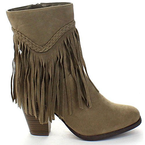 Breckelles Heather-38 Womens Fringe Block Heel Woven High Top Ankle Booties Beige ALsXb2Mc