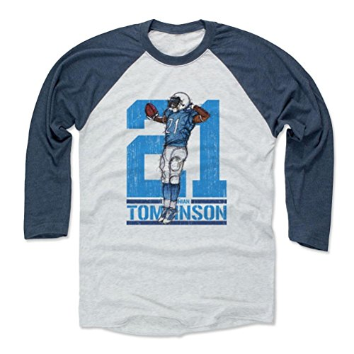 500 LEVEL LaDainian Tomlinson Baseball Shirt XX-Large Indigo/Ash - Vintage San Diego Football Fan Apparel - LaDainian Tomlinson Sketch 21 Flip L ()