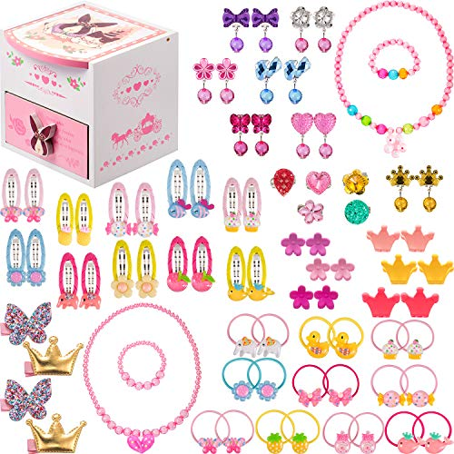 Gejoy 80 Pieces Girls Dress Up Accessories with Jewelry Box Girls Princess Jewelry, Necklace, Bracelet, Rings, Clip on Earrings, Hair Clips, Hair Ties, Mini Hair Claws (Style 2) ()