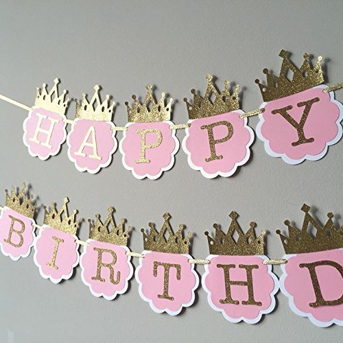 Party Propz Princess Glitter Happy Birthday Crown Banner For Girls Decoration