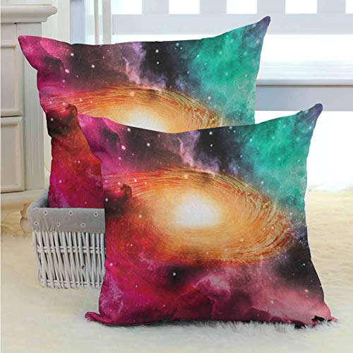 Mannwarehouse Zodiac Pillow Cover Colorful Astronomy Pictures of A Spiral Galaxy Stars Stardust and Cosmos Multi Color Bright Hypoallergenic for Couch/Bed/Sofa 2PCS Pink Orange Green -