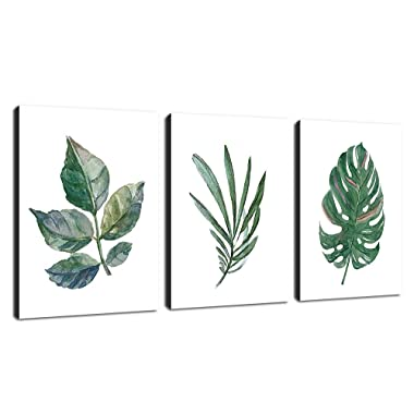 arteWOODS Canvas Wall Art Simple Life Dark Green Leaf Painting 12  x 16  x 3 Pieces Framed Canvas Pictures Prints Contemporary Watercolor Artwork Ready to Hang for Home Decoration Office Wall Decor