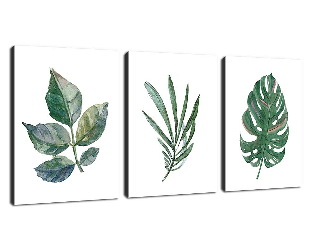 arteWOODS Canvas Art Simple Life Green Leaf Painting Wall Art Decor 12'' x 16'' 3 Pieces Framed Canvas Prints Watercolor Giclee with Black Border Ready to Hang for Home Decoration