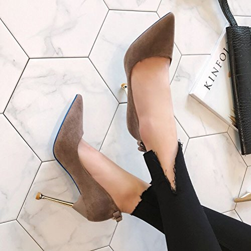 Lady Mouth Point Khaki Spring Match Heels High Work With Elegant Shoes Occupation 39 MDRW Work 10Cm Leisure All Shallow A Fine BPadZxqO