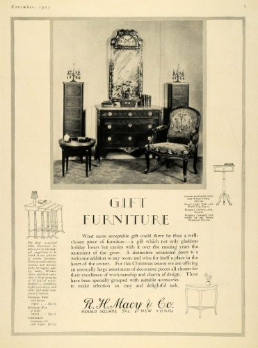 1923 Ad Furniture R H Macy Coffee Table Frame Dresser - Original Print - Herald Square Macys