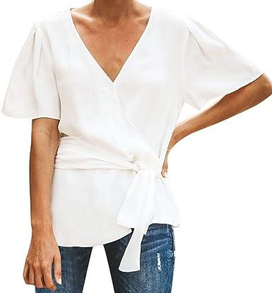Poachers Camisas Mujer Manga Corta Camisetas Mujer Verano Tops Deportivo Mujer Blusas para Mujer Elegantes Tallas Grandes Tops Mujer Sexy Blusas Mujer Boda Crop Tops Mujer: Amazon.es: Ropa y accesorios
