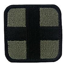 EmbTao Embroidered Medic Cross Tactical Fastener Hook & Loop Patch - Olive & Black