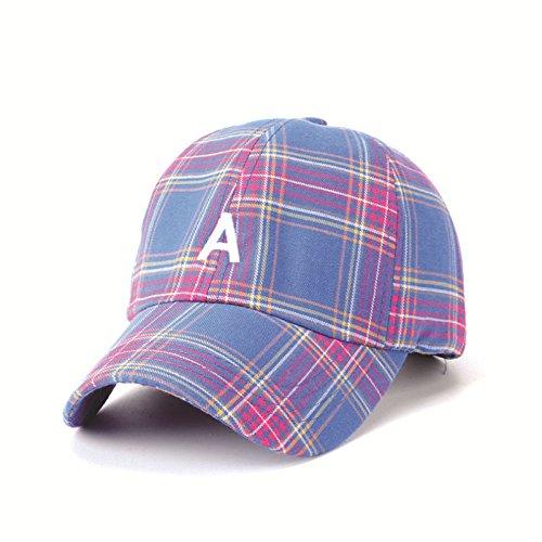 WWF Sun Hat Summer Couple Sun Hat Plaid Tres Colores Opcional Carta de Hip Hop Masculina A Gorra de béisbol,Azul,Un tamaño