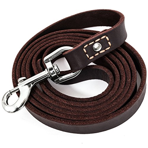 "LEATHERBERG Leather Dog Training Leash - Brown 6 Foot x 3/4"" Dog Walking Leash Best for Medium Large Dogs, Latigo Leather Dog Lead & Puppy Trainer Leash"