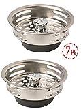 Stainless Steel Kitchen Sink / Basket Strainer with Adjustable Post, Garbage Disposal Strainer, Set of 2, 3.5''