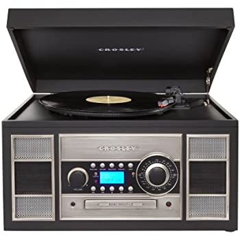 Superb Crosley CR2413A BK Memory Master II Turntable With Radio, CD Player /Recorder,