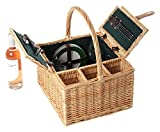 Greenfield Collection Windsor Wicker Picnic Hamper for 4-People