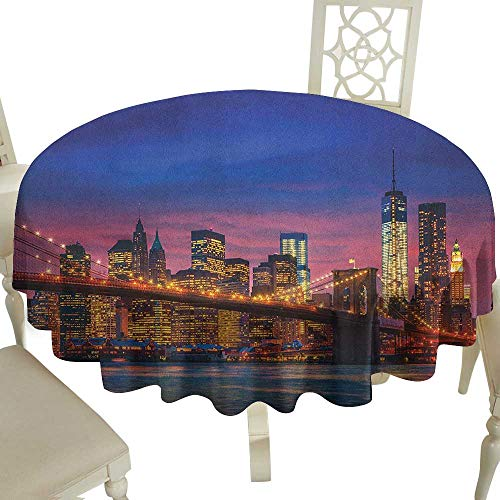 100% Polyester Washable Table Cloth for Circular Table 54 Inch New York,NYC That Never Sleeps Reflections on Manhattan East River City Image Photo Print Pink Blue Suitable for Home Coffee Bar,Party,We