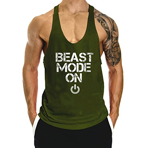InleaderAesthetics Men's Cotton Fitness Beast Model Stringer Tank Tops -Army - Mens Top Model