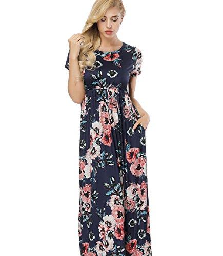 FeelinGirl Mujer Vestido Estampado Largo Falda Cintura Alta Verano Azul