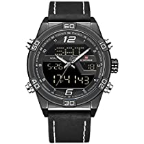 Naviforce Officer's Black Belt Analog Digital Wrist Watch fo