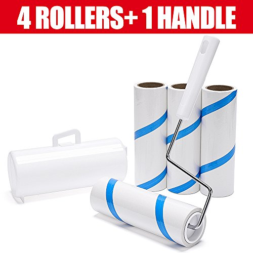 4' Fabric Mini Roller - House Day Lint Roller Pet Hair Remover Cleaning Fuzz Dust Dandruff,1 Durable Handle,Lint Rollers 4 Count with 360 Total Sheets,Portable Cover,Extra Sticky Roller,Lint Remover (White)