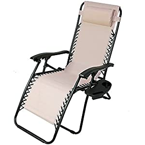 sunnydaze beige zero gravity lounge chair with pillow and cup holder