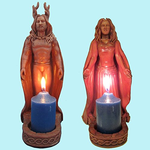 Horned God and Moon Goddess Statues by Mickie Mueller Pagan Altar (Goddess Altar)