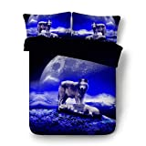 Cheap Comforter Sets Under 50 EsyDream Under The Moon Forest Wolf Men's Bedding Bedlinen 4PC/Set King Queen Twin Size Outer Space Moon Lover Wolves Boys Duvet Cover Sheet No Quilt(King,Color 14)
