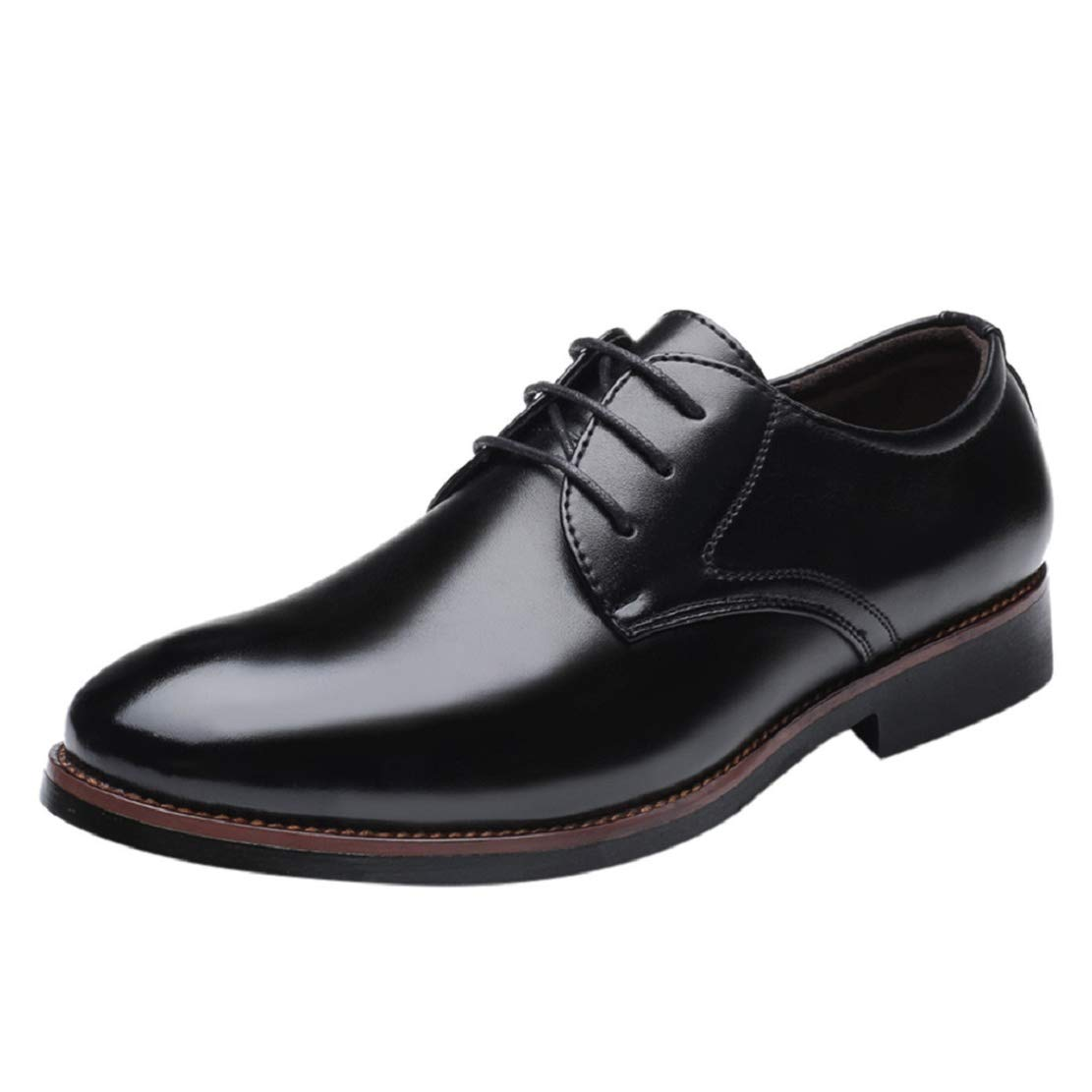 Men's Modern Formal Dress Shoes Breathable Business Wingtip Lace Up Shoes Leather Business Casual Shoes by Lowprofile Black