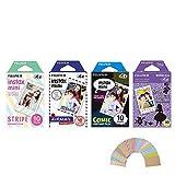 Fujifilm Instax Mini Film 4 Pack Bundle! Disney Alice, Comic, Airmail, Stripe 10 X 4 = 40 Sheets Assort Set + Photo Frame Stickers 20 pcs