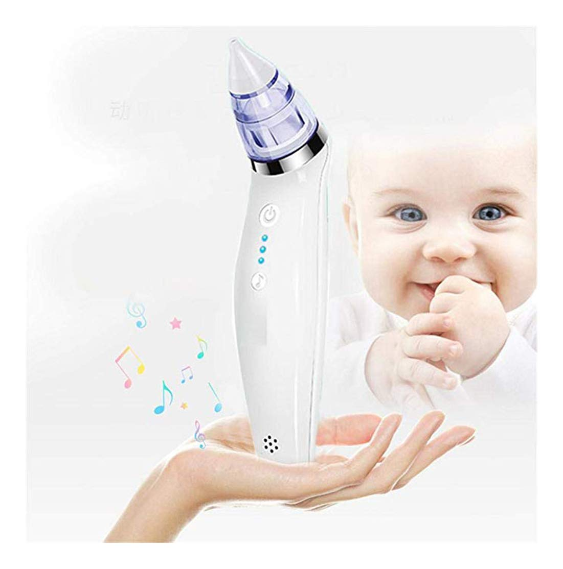 Baby Nasal Aspirator, Electric Nasal Aspirator, Cleanable and Reusable, 3 Suction Levels with 2 Sizes Silicone Tips, Baby Mucus Runny Snot Nostril Clean Tool-White by JXFS