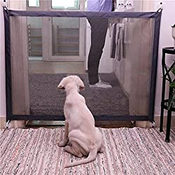 MORYSONG Pet Isolation Net, Portable Pets Gate Folding Safety Guard for Dog Cat, Folding Safe Guard Install Anywhere,Pet Dog Safety Enclosure (Black)