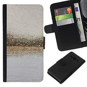 KLONGSHOP // Tirón de la caja Cartera de cuero con ranuras para tarjetas - Río Las gotas de lluvia de vidrio borrosa gris verano - Samsung Galaxy A3 //