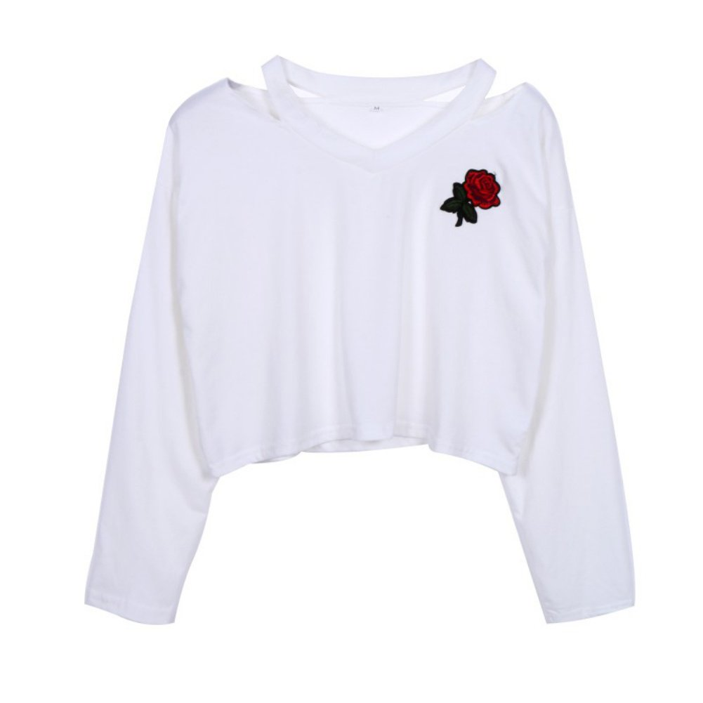 Womens Short Embroidery Off Shoulder Sweatshirt Teen Girl Long Sleeve Blouse Crop Tops