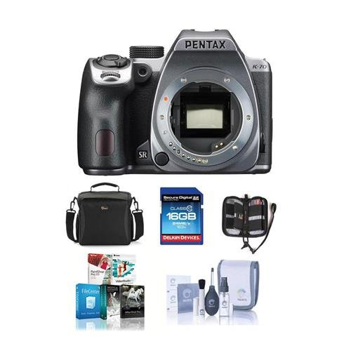 Pentax K-70 24MP Full HD Digital SLR Camera, Body Only, Silver - Bundle with 16GB SDHC Card, Camera Bag, Cleaning Kit, Memory Wallet, Software Package