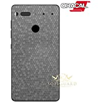 SopiGuard Essential Phone PH1 Carbon Fiber Rear Panel Precision Edge-to-Edge Coverage Easy-to-Apply Vinyl Skins (Honeycomb Silver)