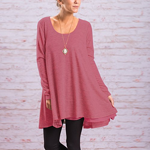 Blouse Longue Tops Pull Casual Rond Shirt Lach Rose Femme Col Manches Longues FeelinGirl Tunique Dentelle Haut w6Cqxw75